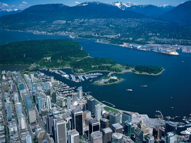 cityscapes buildings Vancouver aerial wallpaper