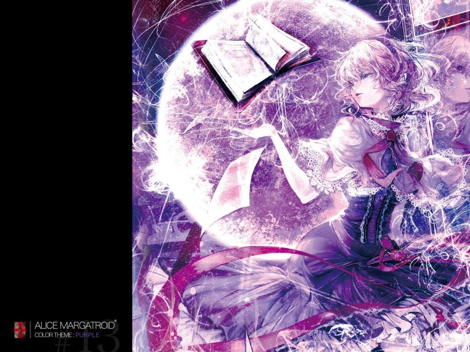 blondes women abstract Touhou Moon ribbons Alice books short hair Alice Margatroid hair band wallpaper