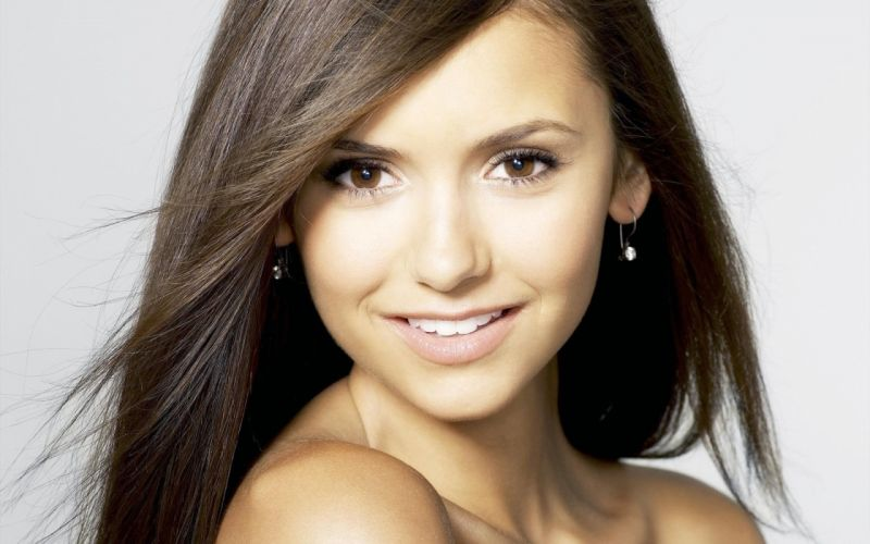brunettes women actress Nina Dobrev The Vampire Diaries faces white background wallpaper