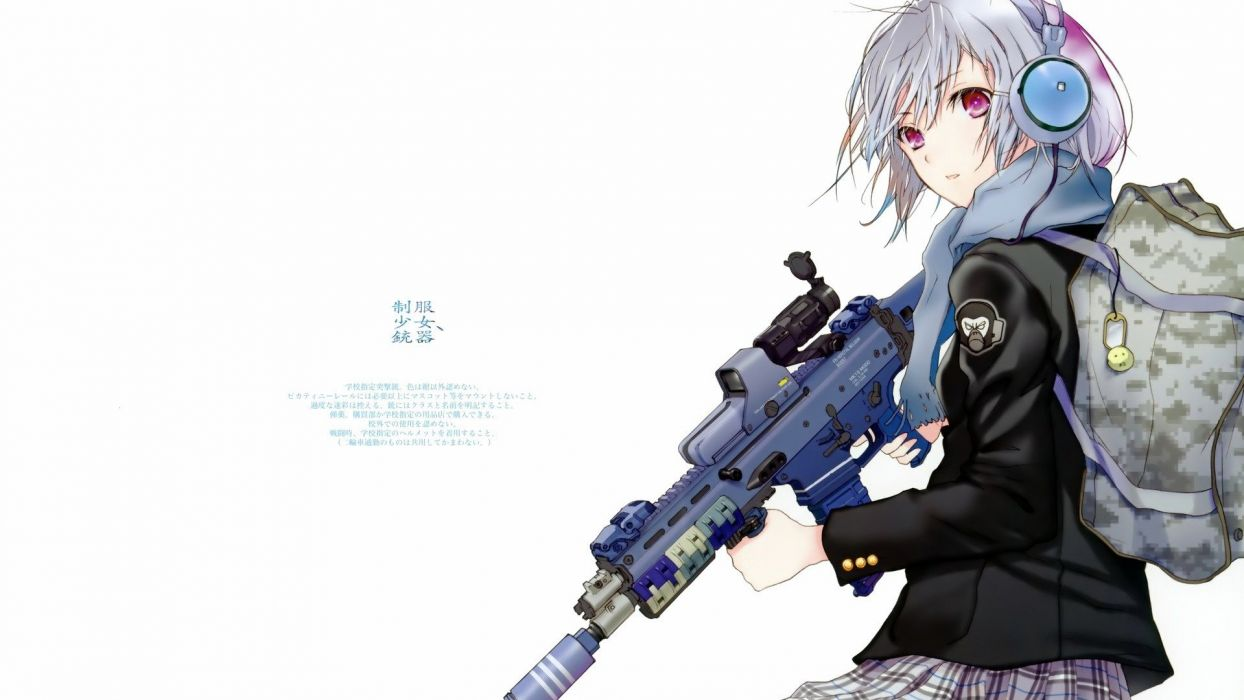 Guns weapons fuyuno haruaki artwork simple background - Best anime images website ...