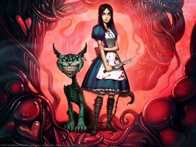 Alice in Wonderland Alice: Madness Returns Cheshire Cat striped legwear wallpaper