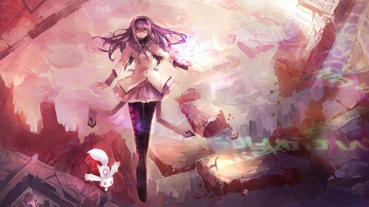 ruins glasses destruction purple hair Mahou Shoujo Madoka Magica meganekko anime Akemi Homura anime girls Kyubey wallpaper