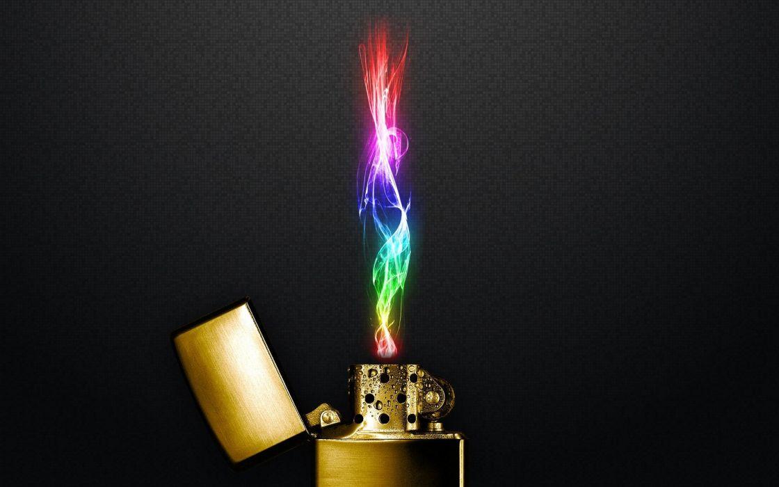 Multicolor Zippo Lighters Flame Wallpaper