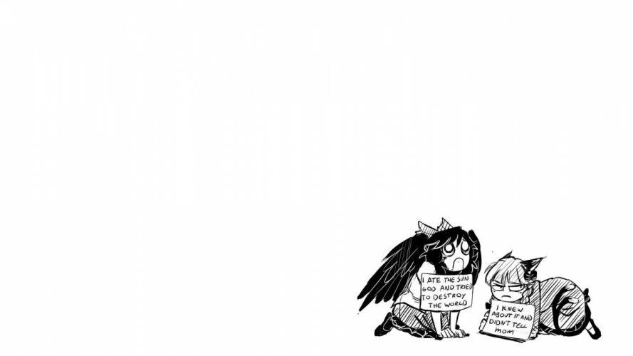 tails black and white video games Touhou wings dress skirts long hair nekomimi animal ears Kaenbyou Rin bows monochrome sitting angry braids Reiuji Utsuho Subterranean Animism simple background anime girls white background hair ornaments bangs wallpaper