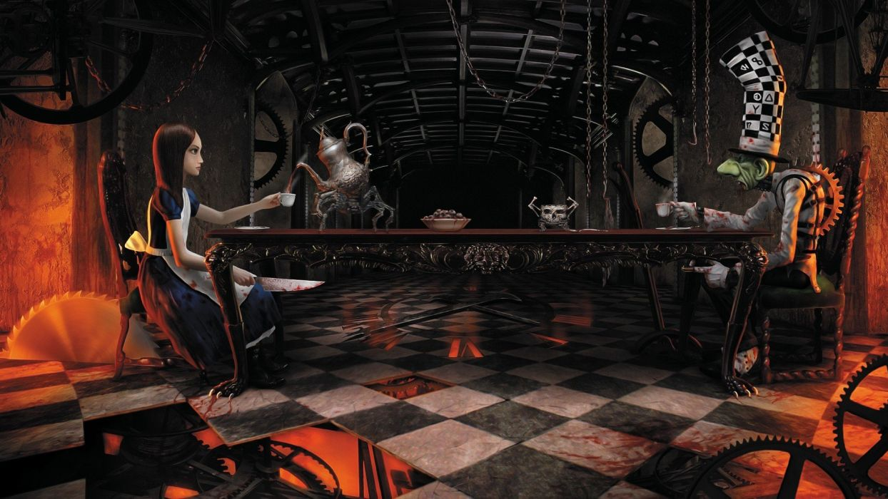 video games Mad Hatter artwork American McGees Alice wallpaper