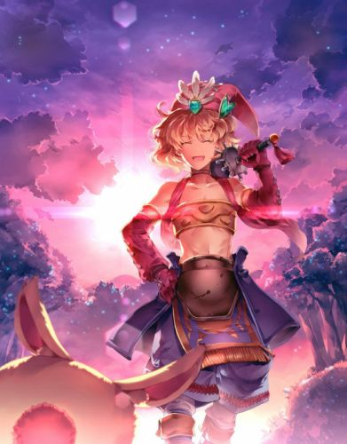 clouds trees gloves stars forests weapons feathers armor Densetsu hats anime girls detached sleeves swords Seiken legend of mana wallpaper