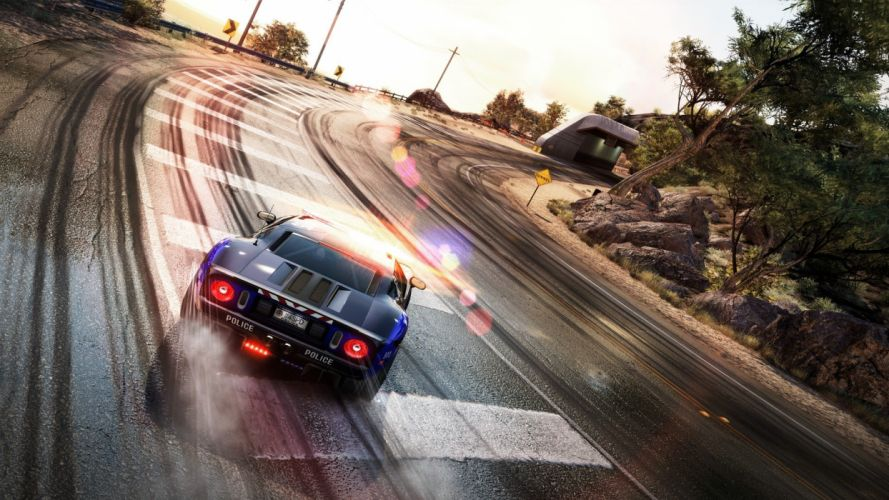 Need for Speed drifting cars Ford GT police cars Ford GT40 drifting Need for Speed Hot Pursuit games wallpaper