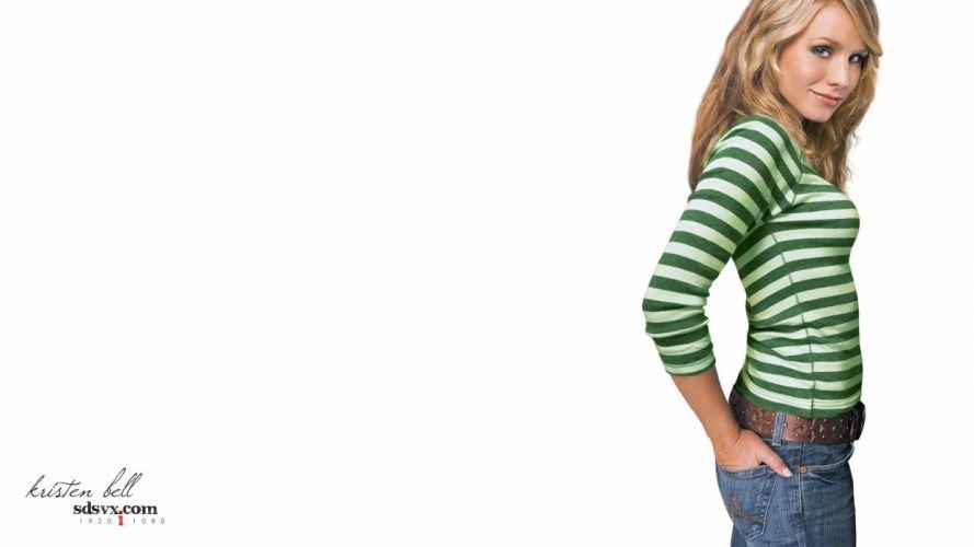 women Kristen Bell models wallpaper