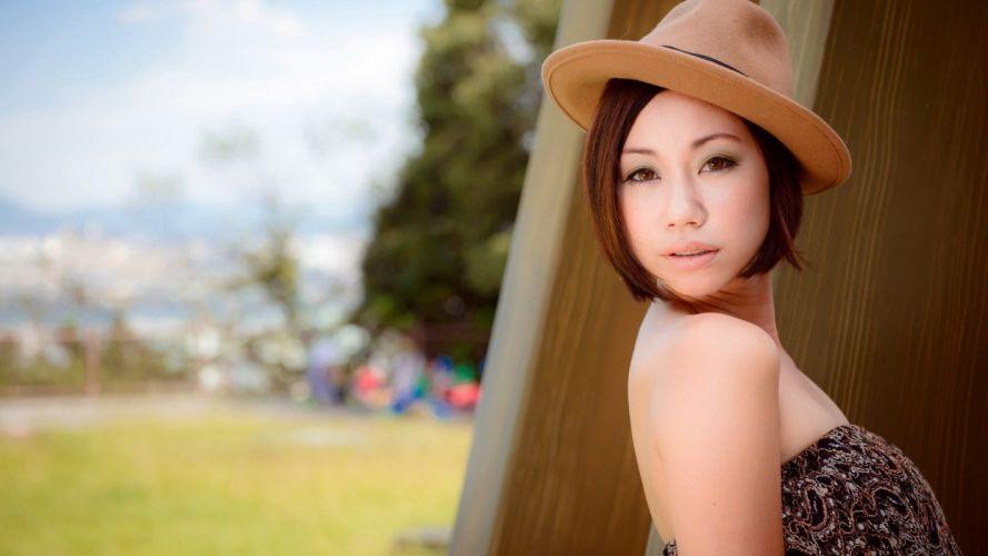 brunettes women Asians hats models wallpaper