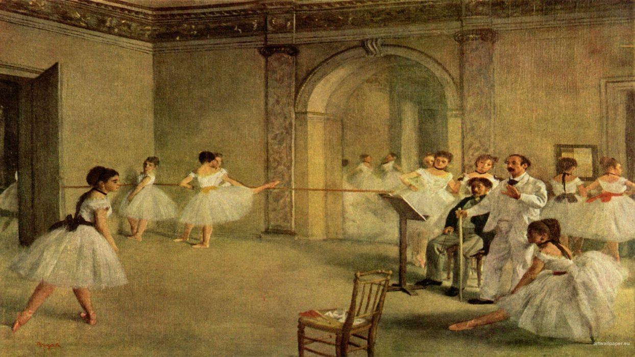 paintings artwork dancing impressionist painting Edgar Degas impressionism ballerinas wallpaper