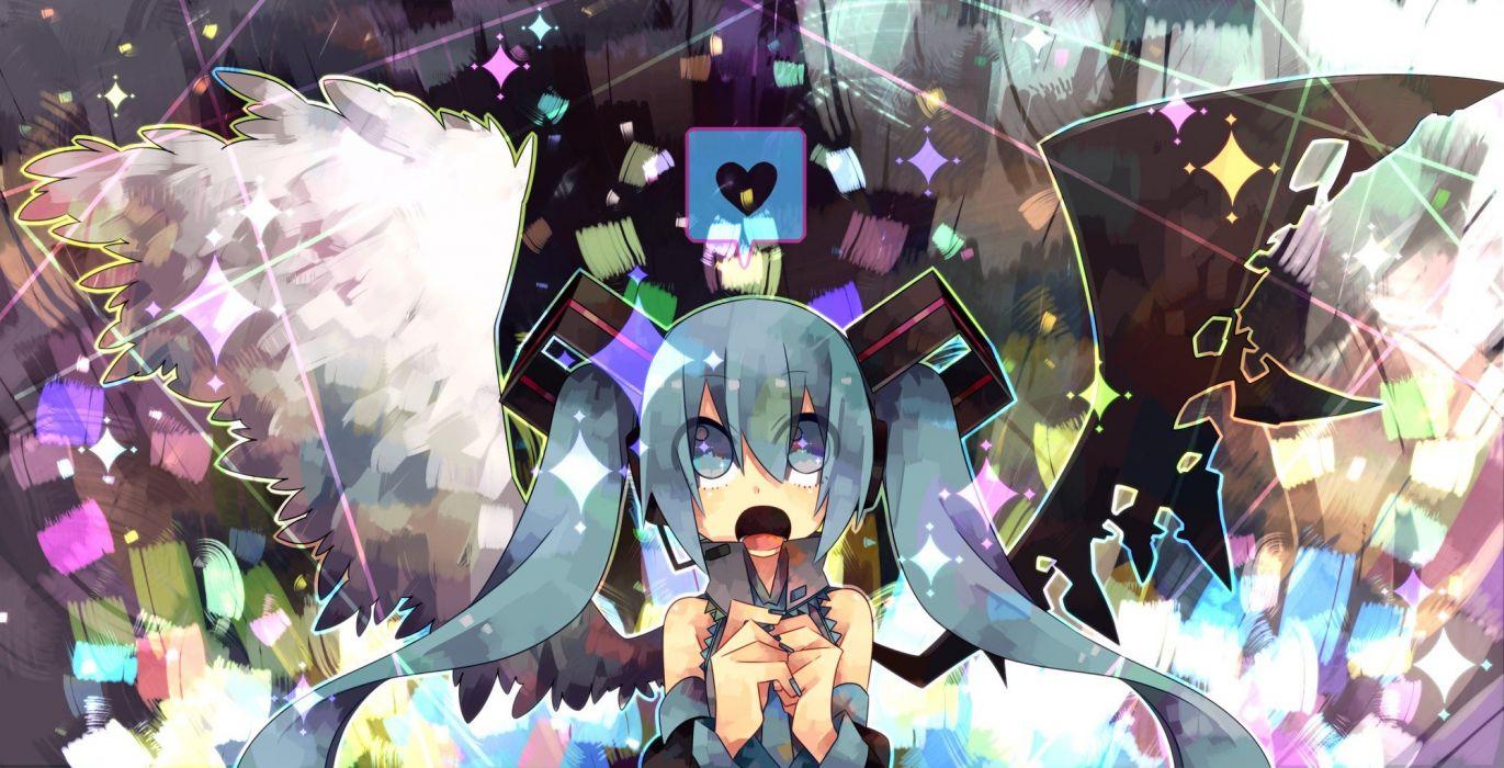wings Vocaloid Hatsune Miku chibi aqua eyes aqua hair wallpaper