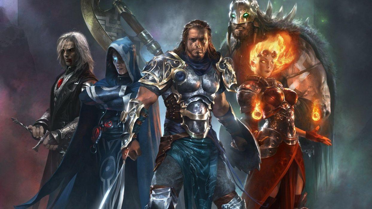 fire Magic: The Gathering weapons armor magic cloaks axes artwork warriors Chandra Nalaar Jace Beleren Planeswalker swords garruk Sorin wallpaper