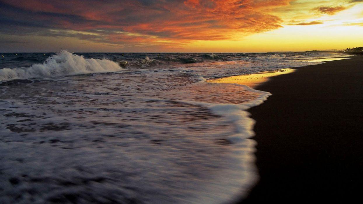 sunset landscapes sea wallpaper