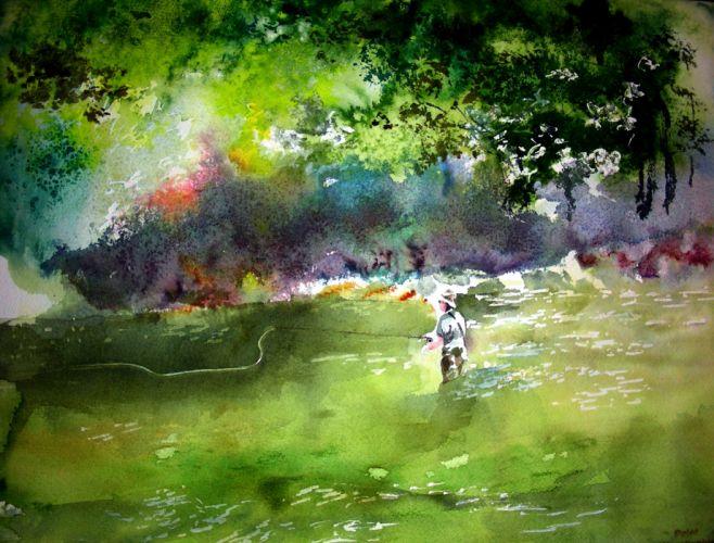 FISHING fish sport water fishes river artwork mood painting wallpaper