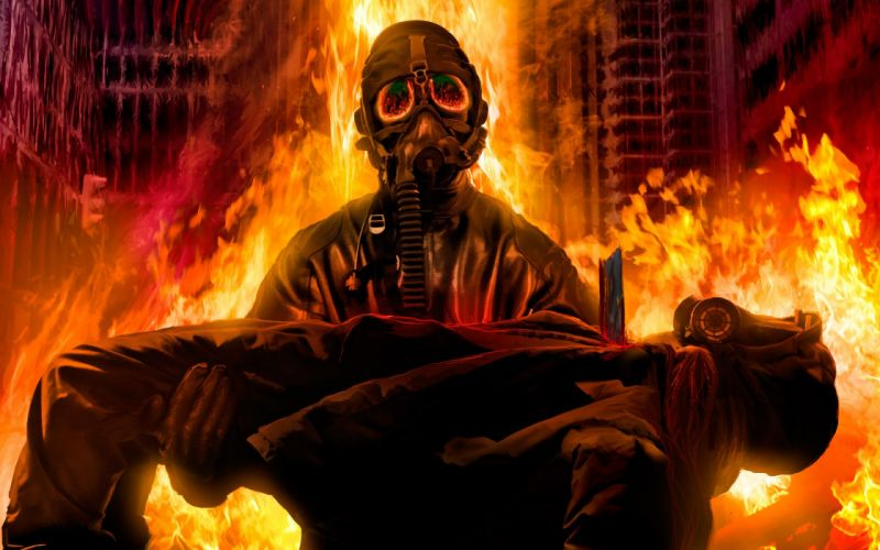 68 Romantically Apocalyptic fantasy sci-fi dark mask gas fire wallpaper