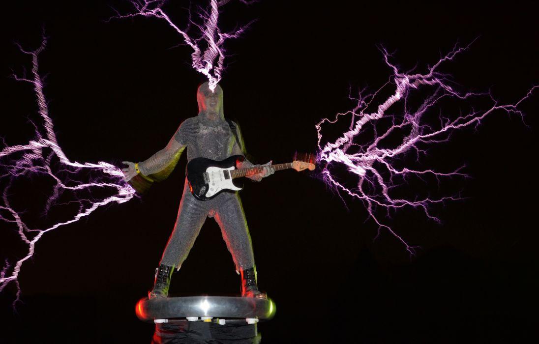 guitar metal heavy lightning psychedelic sci-fi wallpaper