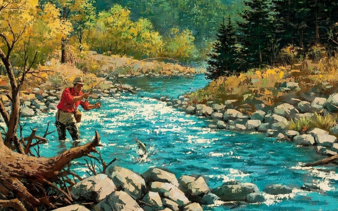 FISHING fish sport fishes river autumn painting artwork wallpaper