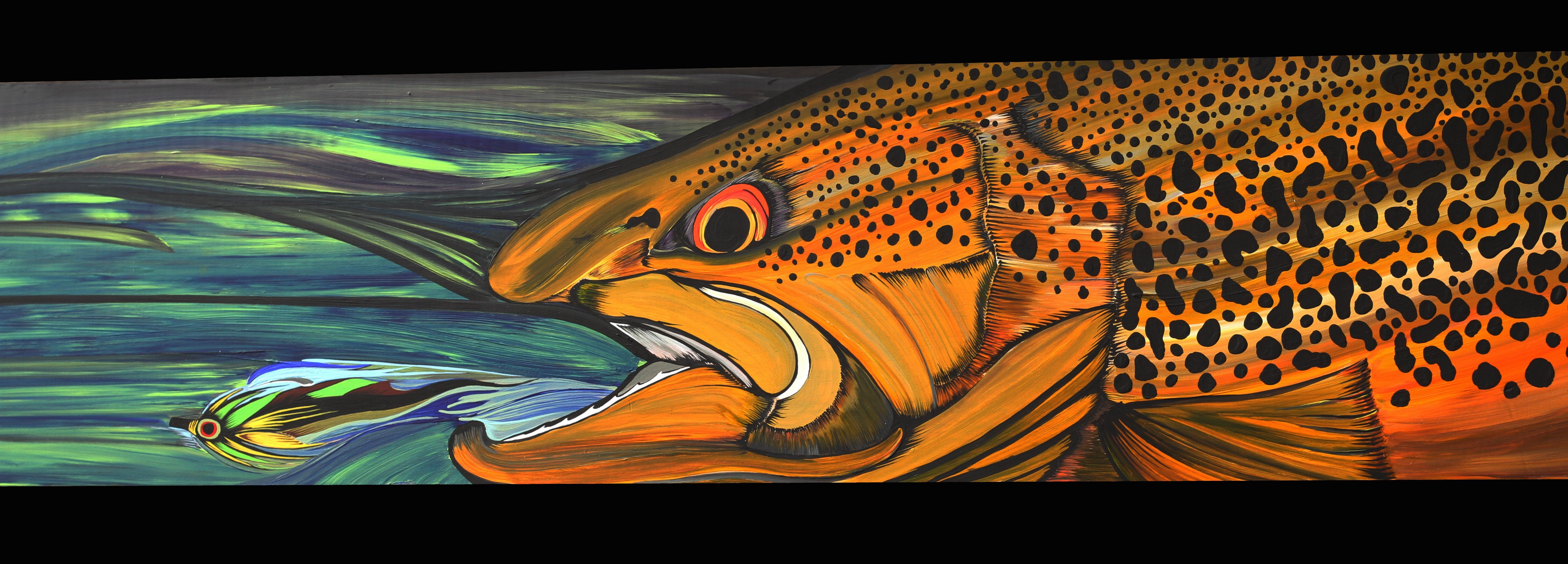 FISHING fish sport fishes bass trout artwork painting wallpaper | 5184x1864 | 324650 | WallpaperUP