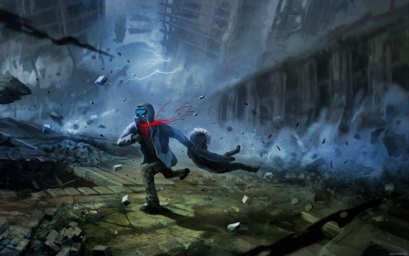 dark mask Romantically Apocalyptic fantasy sci-fi city t wallpaper