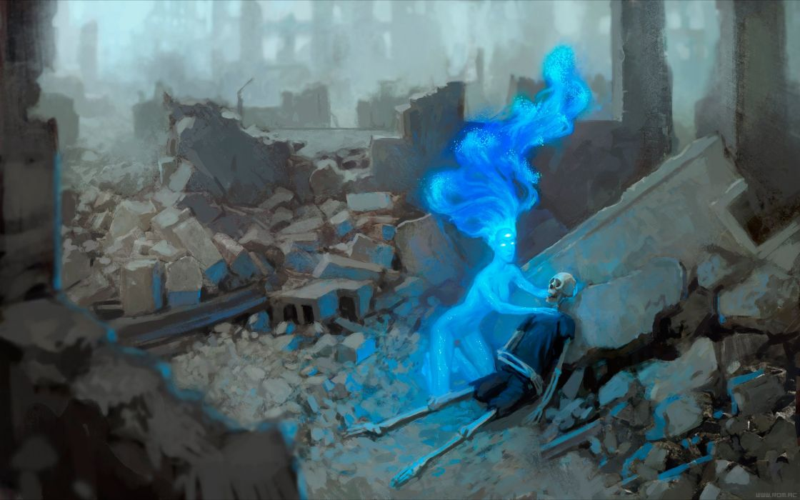 dark magic skeleton Romantically Apocalyptic fantasy sci-fi city forest ruins horror wallpaper
