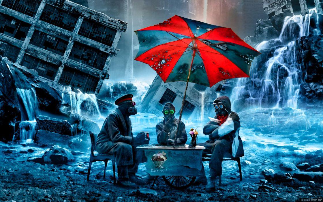 g Romantically Apocalyptic fantasy sci-fi city ruins umbrella gas mask dark waterfall wallpaper