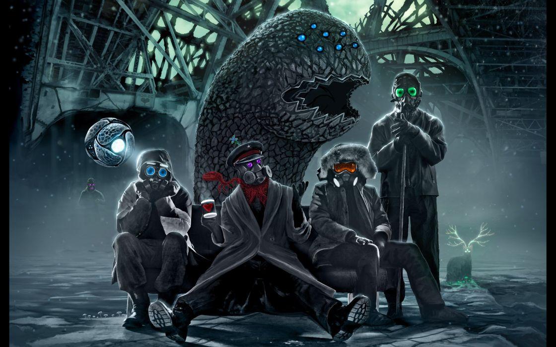 gh Romantically Apocalyptic fantasy sci-fi dark blood mask gas monster wallpaper