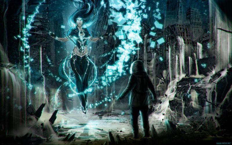 girl magic Romantically Apocalyptic fantasy sci-fi city ruins gg wallpaper