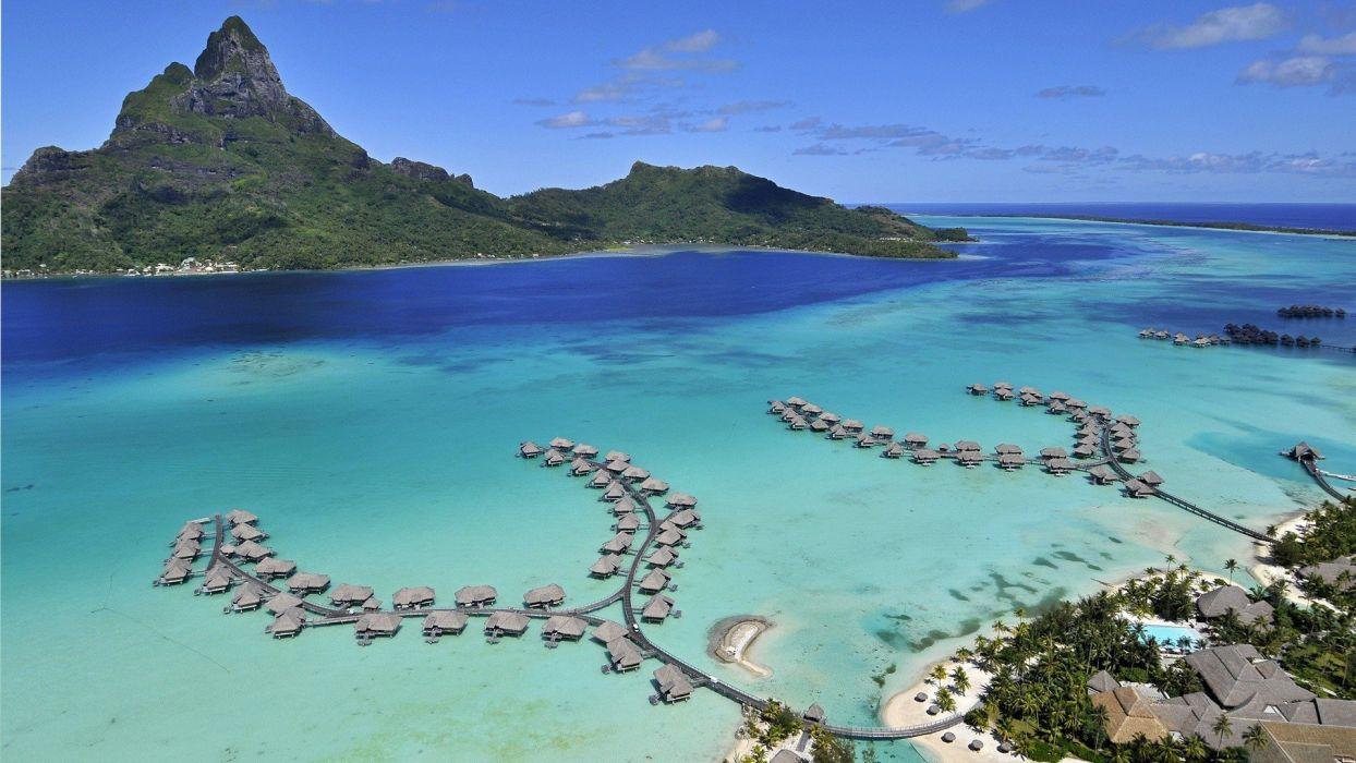 landscapes nature houses Bora Bora sea beaches wallpaper