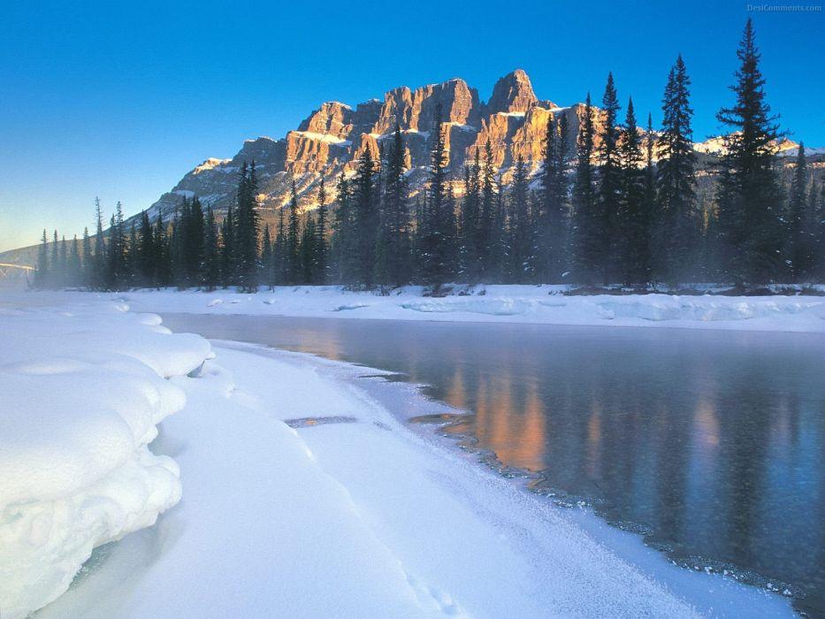 ice mountains trees lakes wallpaper