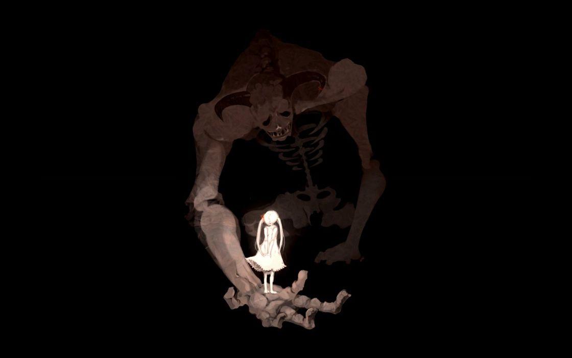 women demons silhouettes skeletons digital art wallpaper