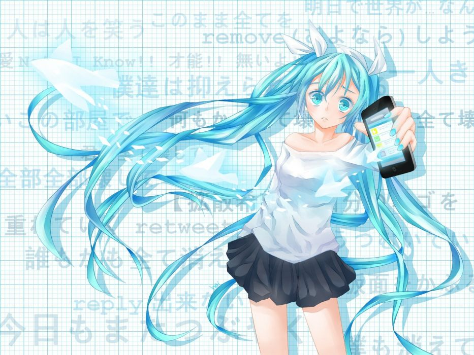 Vocaloid Hatsune Miku text blue eyes skirts long hair Twitter blue hair twintails blush shirts cellphones anime girls wallpaper