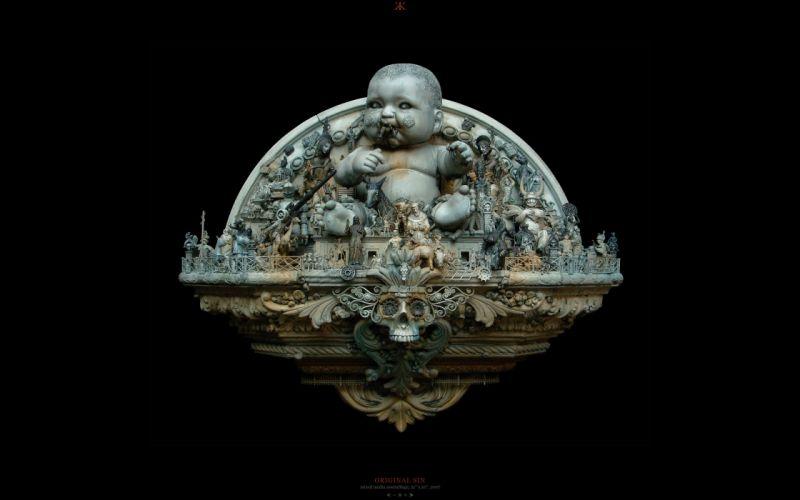 skulls Original Sin sculptures babies macabre kris kuksi black background wallpaper