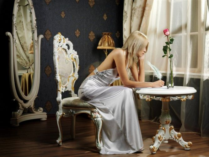 blondes women mirrors chairs writing roses long dress wallpaper
