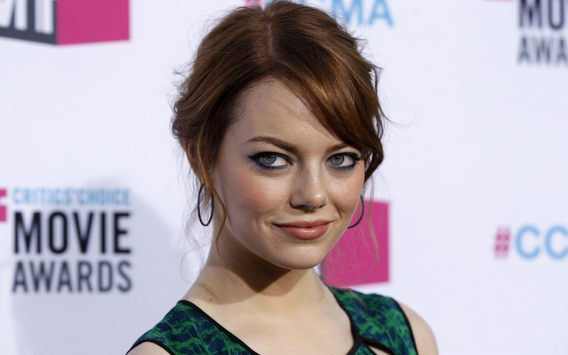 women actress redheads Emma Stone green eyes wallpaper