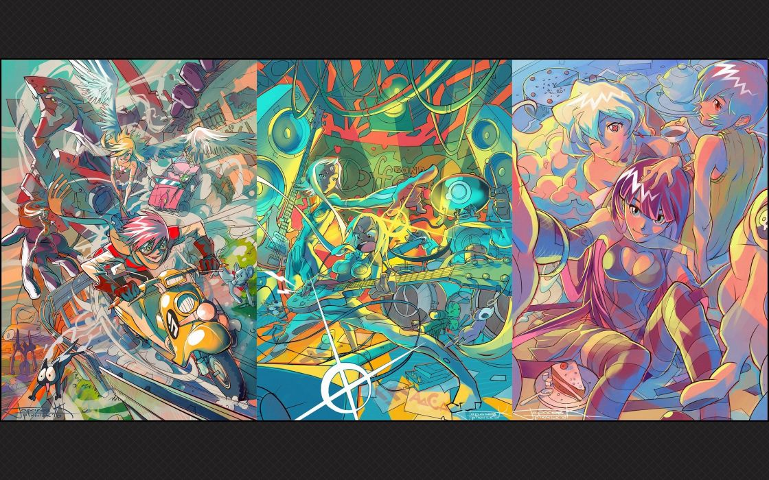 FLCL Fooly Cooly Tengen Toppa Gurren Lagann Neon Genesis Evangelion Gainax Haruhara Haruko Panty and Stocking with Garterbelt Asuka Langley Soryu Teppelin Nia anime Anarchy Panty Anarchy Stocking striped legwear Garterbelt (PSG) wallpaper