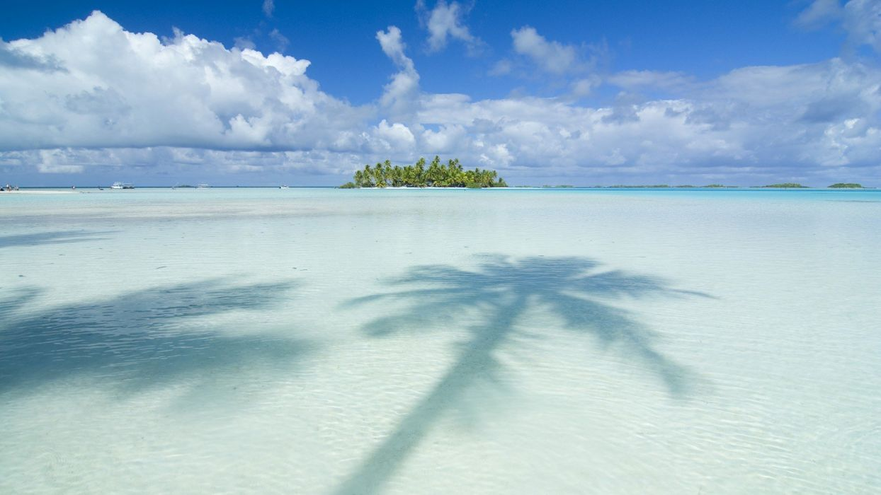 ocean clouds nature islands palm trees Tahiti skyscapes beaches wallpaper