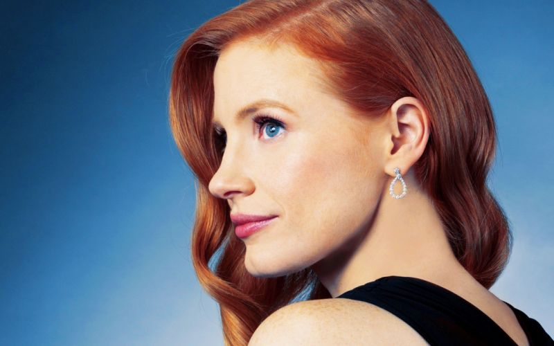 women actress red hat Jessica Chastain wallpaper