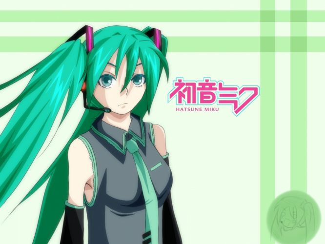 green Vocaloid Hatsune Miku anime girls detached sleeves bare shoulders wallpaper