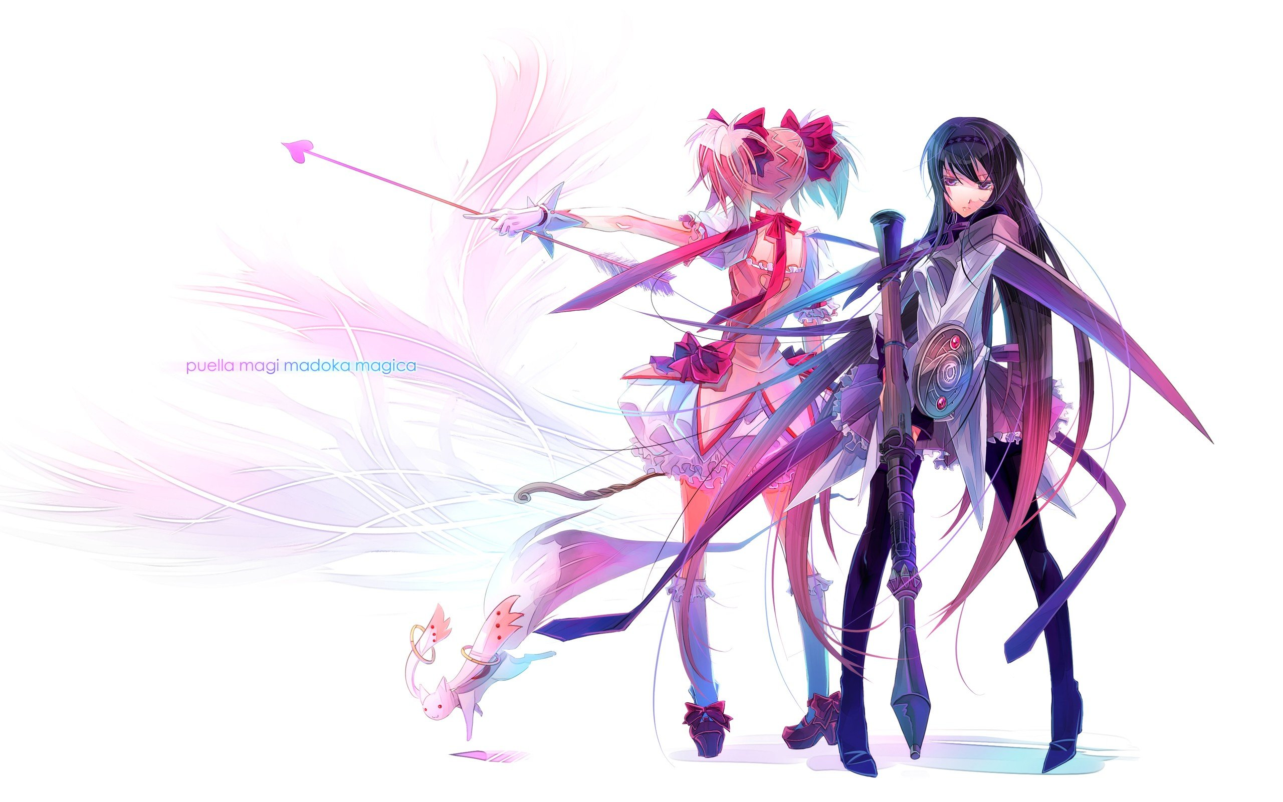 White skirts weapons mizore artist purple hair pink hair - Anime girl with weapon ...