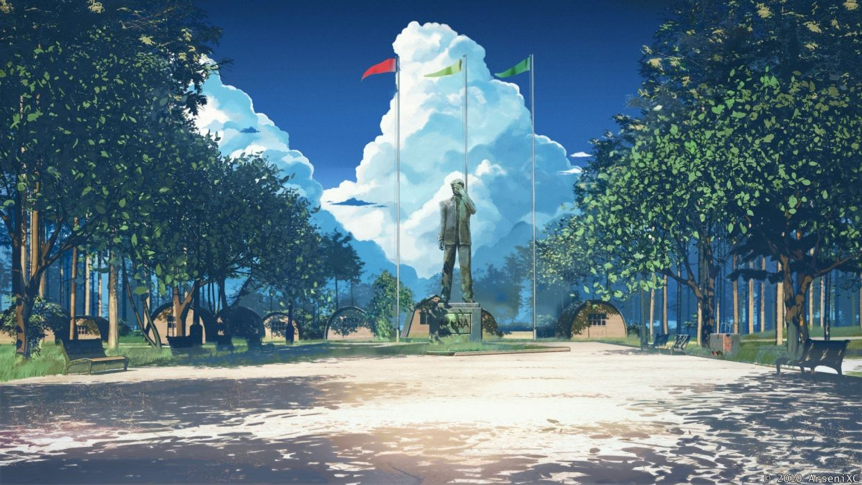 statues skyscapes ArseniXC wallpaper