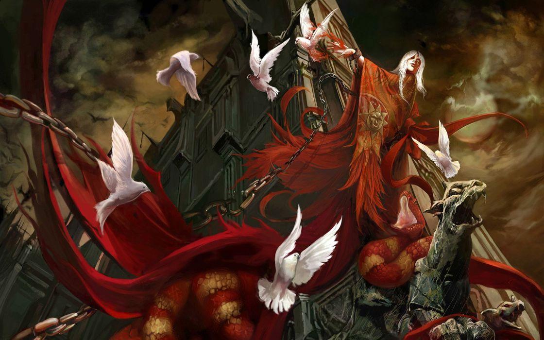 fantasy birds houses snakes spirit haunted wallpaper