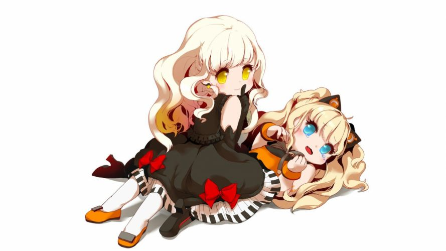 blondes Vocaloid gloves dress blue eyes tears long hair shoes yellow eyes blush earrings lying down sitting open mouth fangs bracelets crying ahoge simple background anime girls SeeU white background Mayu (Vocaloid) bare shoulders wallpaper