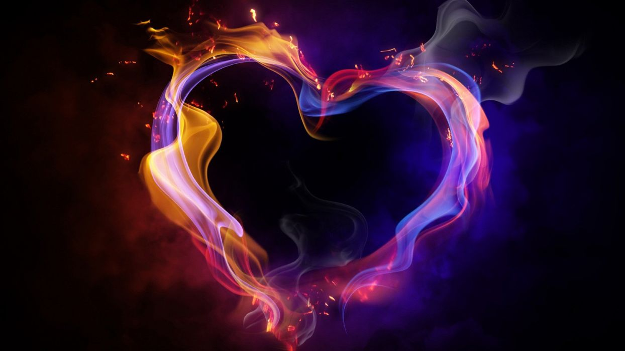 flames multicolor hearts wallpaper