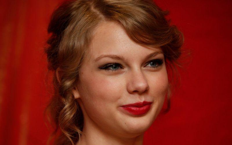 women eyes Taylor Swift celebrity singers faces red background lipstick wallpaper