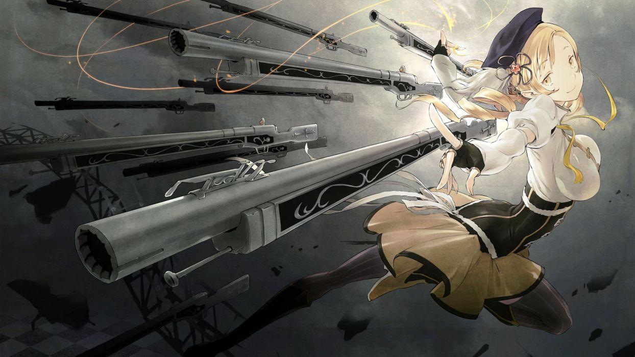 blondes guns Mahou Shoujo Madoka Magica Tomoe Mami anime anime girls wallpaper