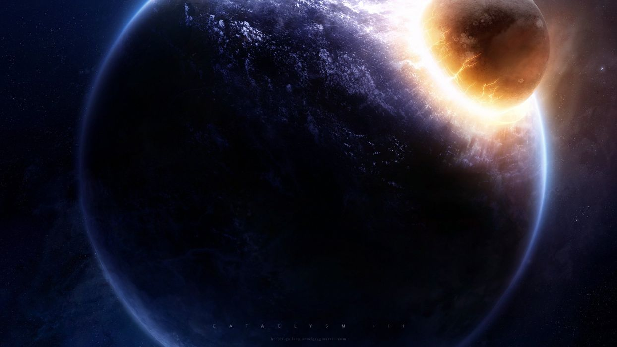 outer space stars explosions planets cataclysm Greg Martin wallpaper
