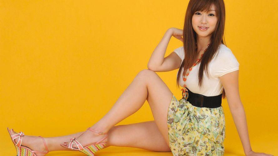 women Asians yellow background bangs wallpaper