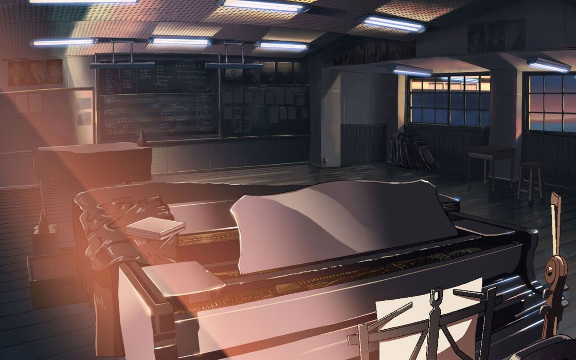 piano classroom Makoto Shinkai The Place Promised in Our Early Days wallpaper