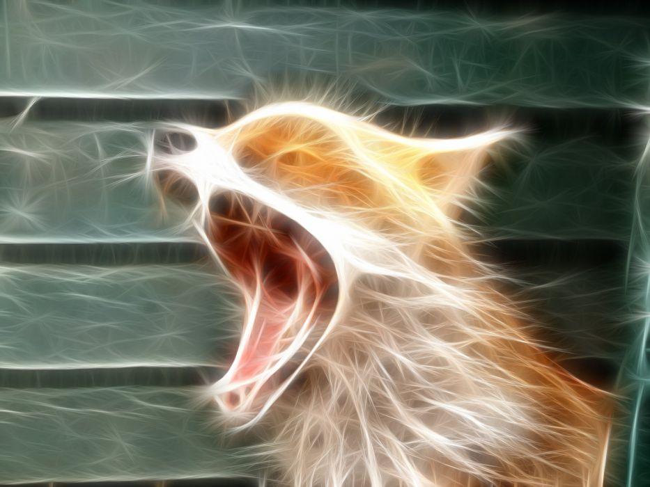 animals Fractalius foxes wallpaper
