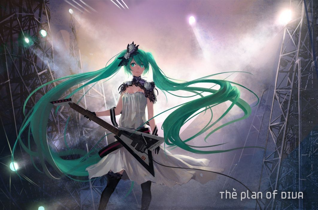 tattoos Vocaloid gloves dress lights flowers stockings Hatsune Miku text long hair green eyes thigh highs green hair instruments guitars twintails electric guitars stage white dress soft shading Project Diva anime girls hair ornaments bangs flower in hair wallpaper
